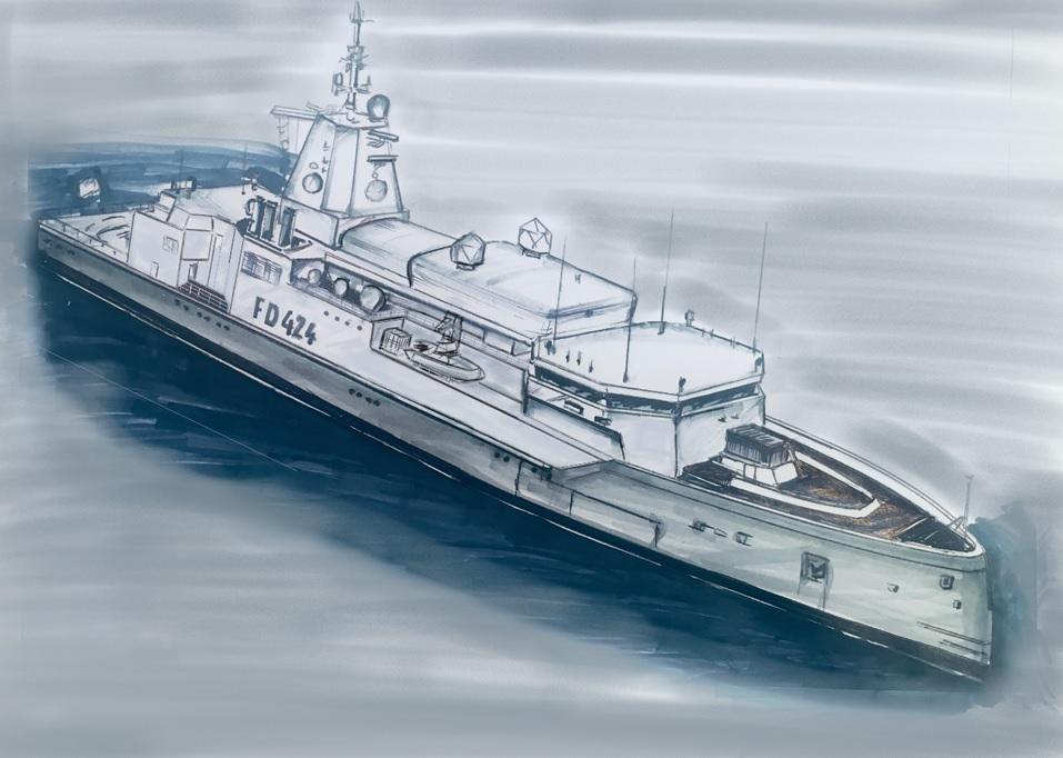 Designskizze des neuen Flottendienstbootes - Blauer Bund