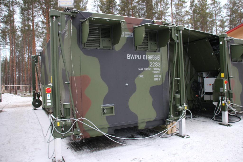 Die Feldküche während der Kälteerprobung auf eisigem Untergrund in Norwegen